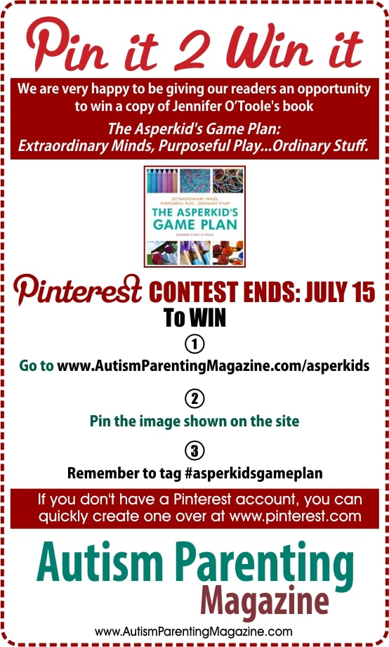 We are very happy to be giving our readers an opportunity to win a copy of The Asperkid Game Plan: Extraordinary Minds, Purposeful Play...Ordinary Stuff. For a chance to win repin the image shown on pinterest with the tag #AsperkidsGamePlan.