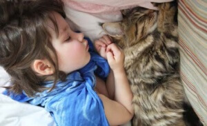 Iris Grace sleeping with her special cat