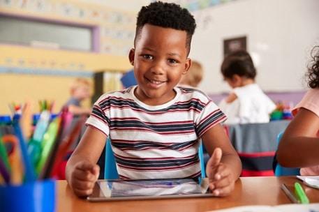 boy smiling at shool
