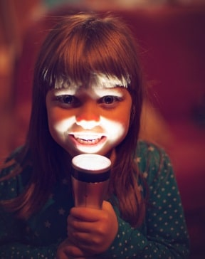 kids with a flashlight