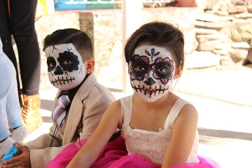 kids with halloween face paint